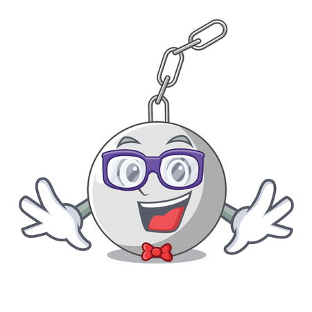 Geek wrecking ball hanging from chain cartoon vector illustration