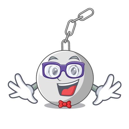 Geek wrecking ball hanging from chain cartoon vector illustration