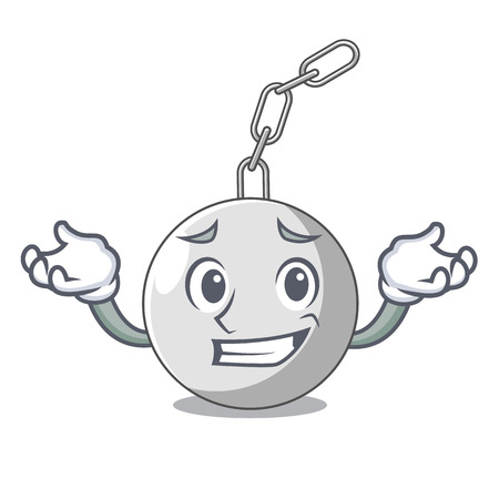 Grinning wrecking ball hanging from chain cartoon vector illustration