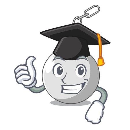 Graduation wrecking ball hanging from chain cartoon vector illustration Illustration