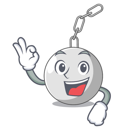 Okay wrecking ball hanging from chain cartoon vector illustration Illustration
