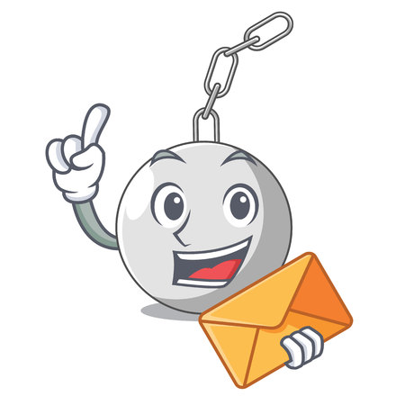 With envelope wrecking ball hanging from chain cartoon Illustration