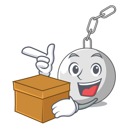 With box wrecking ball hanging from chain cartoon vector illustration