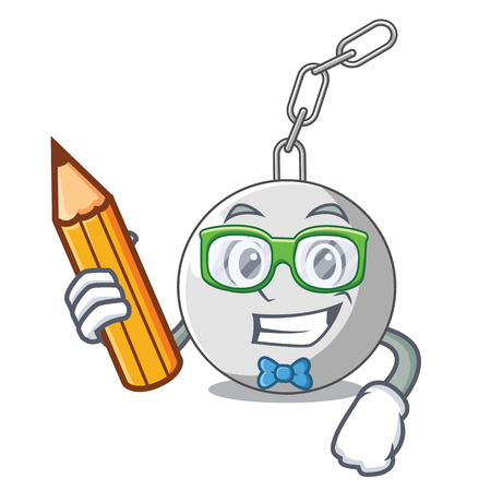 Student wrecking ball hanging from chain cartoon vector illustration