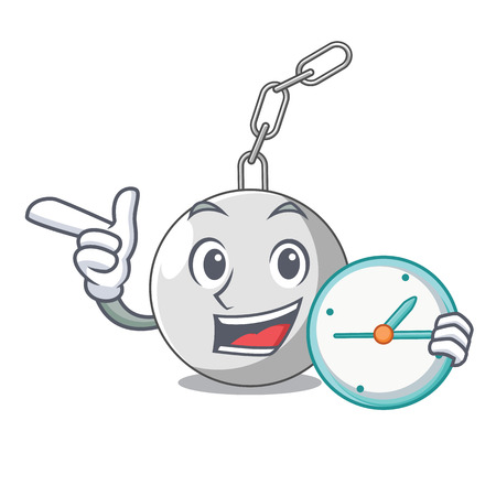 With clock wrecking ball hanging from chain cartoon vector illustration Illustration