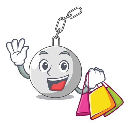 Shopping wrecking ball hanging from chain cartoon vector illustration Illustration