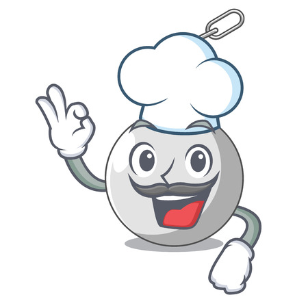 Chef wrecking ball hanging from chain cartoon vector illustration