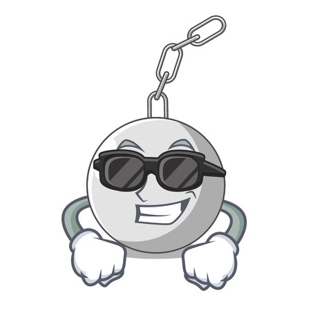 Super cool wrecking ball hanging from chain cartoon vector illustration