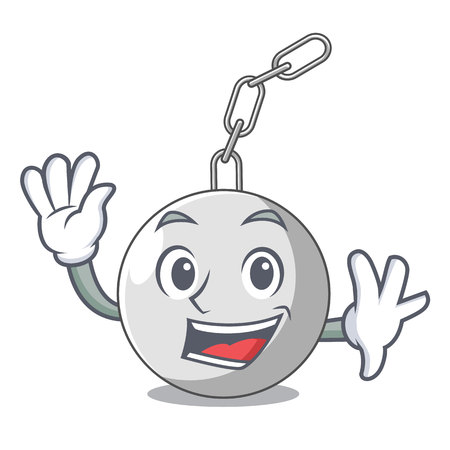 Waving wrecking ball hanging from chain cartoon vector illustration