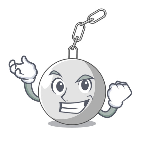 Successful wrecking ball hanging from chain cartoon vector illustration