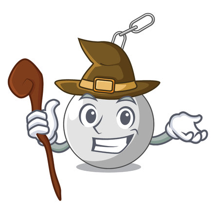 Witch wrecking ball isolated on a mascot vector illustration