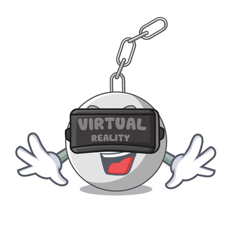Virtual reality wrecking ball isolated on a mascot vector illustration Illustration