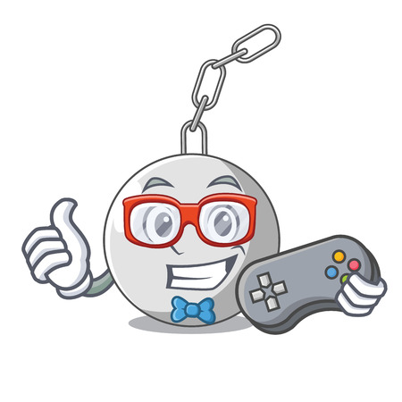 Gamer wrecking ball isolated on a mascot vector illustration