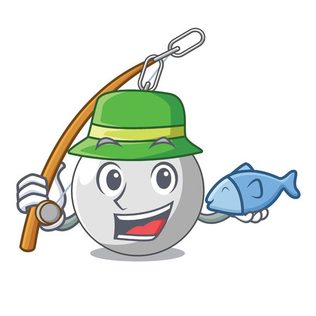 Fishing wrecking ball isolated on a mascot vector illustration