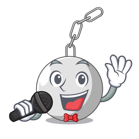 Singing wrecking ball isolated on a mascot vector illustration Illustration