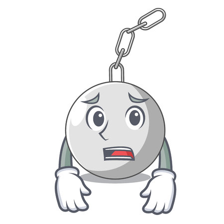 Afraid wrecking ball isolated on a mascot vector illustration