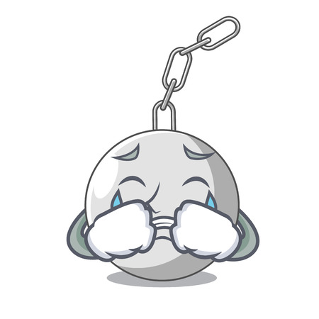 Crying wrecking ball isolated on a mascot vector illustration
