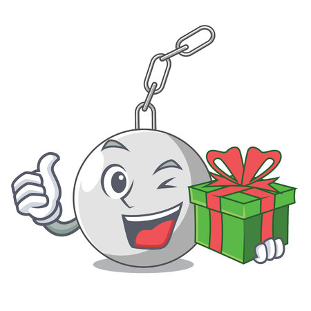 With gift wrecking ball isolated on a mascot vector illustration