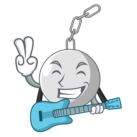 With guitar wrecking ball isolated on a mascot vector illustration