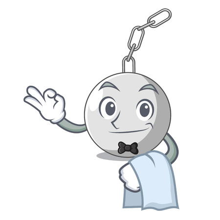 Waiter wrecking ball isolated on a mascot vector illustration