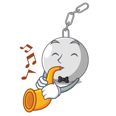 With trumpet wrecking ball isolated on a mascot vector illustration