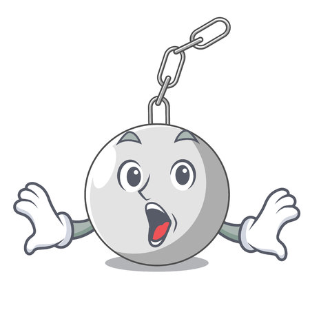 Surprised wrecking ball isolated on a mascot vector illustration