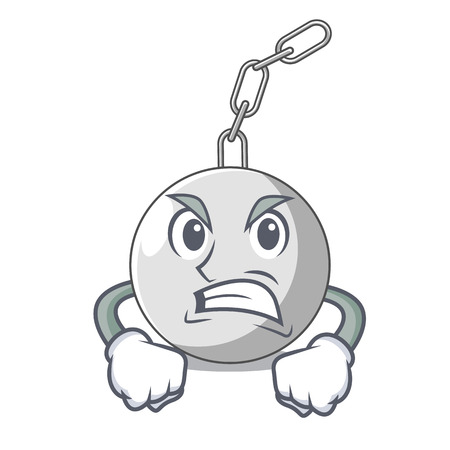 Angry wrecking ball isolated on a mascot vector illustration