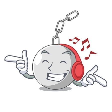 Listening music wrecking ball isolated on a mascot vector illustration