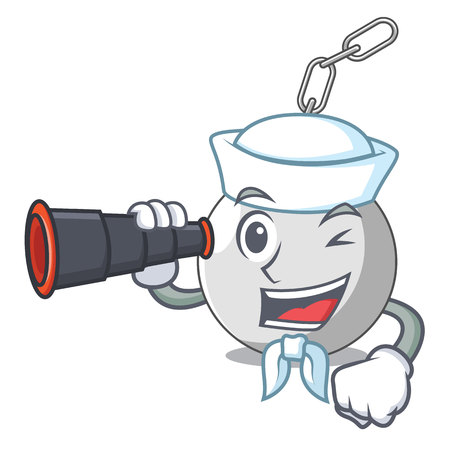 Sailor with binocular wrecking ball isolated on a mascot vector illustration Illustration