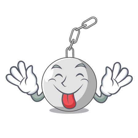 Tongue out wrecking ball attached character on hitting vector illustration Illustration