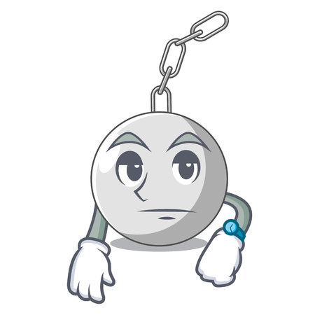 Waiting wrecking ball attached character on hitting vector illustration