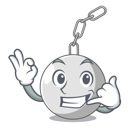 Call me wrecking ball attached character on hitting vector illustration