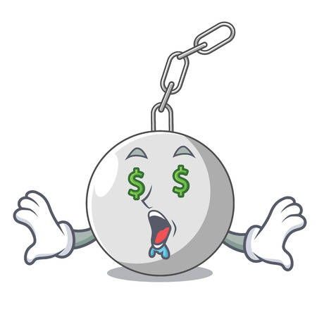 Money eye wrecking ball attached character on hitting vector illustration Illustration
