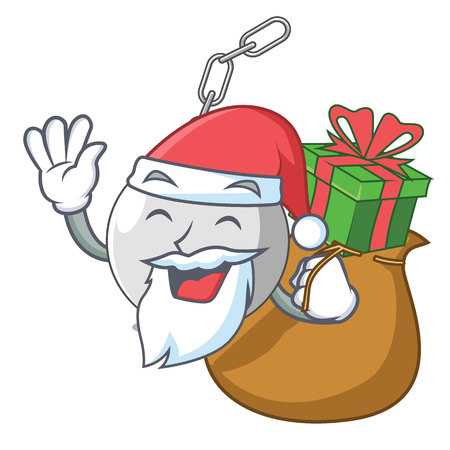 Santa with gift wrecking ball attached character on hitting vector illustration