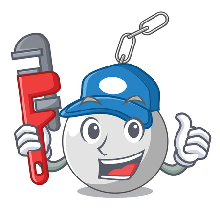 Plumber wrecking ball attached character on hitting vector illustration
