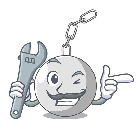 Mechanic wrecking ball attached character on hitting vector illustration