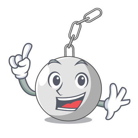 Finger wrecking ball attached character on hitting vector illustration