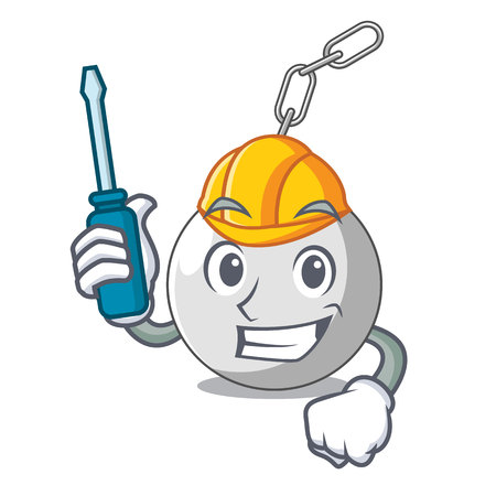 Automotive wrecking ball attached character on hitting vector illustration Illustration