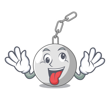 Crazy wrecking ball attached character on hitting vector illustration