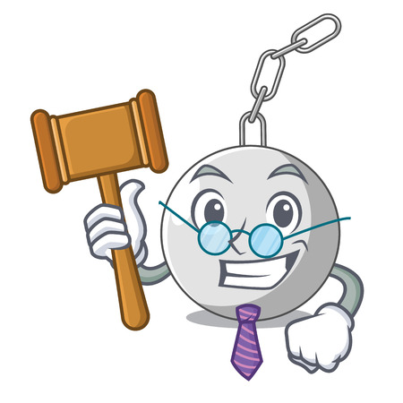 Judge wrecking ball attached character on hitting vector illustration