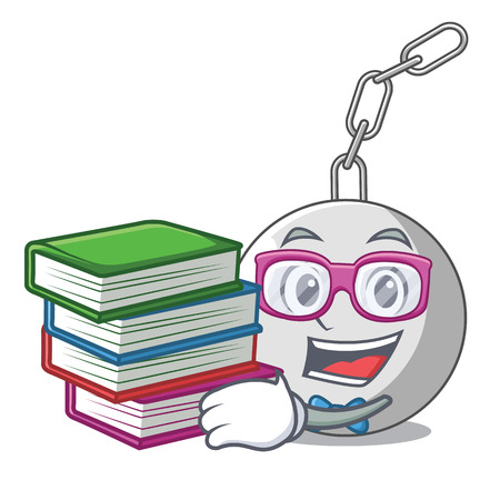Student with book wrecking ball attached character on hitting vector illustration