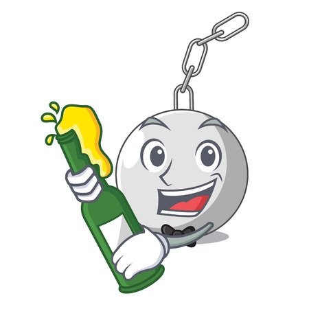 With beer wrecking ball attached character on hitting vector illustration