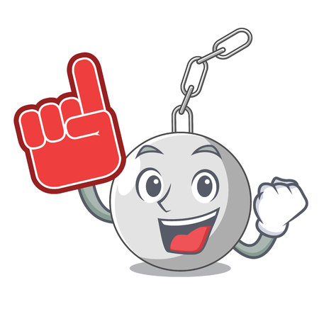 Foam finger wrecking ball attached character on hitting vector illustration