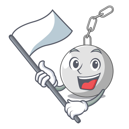 With flag wrecking ball attached character on hitting vector illustration