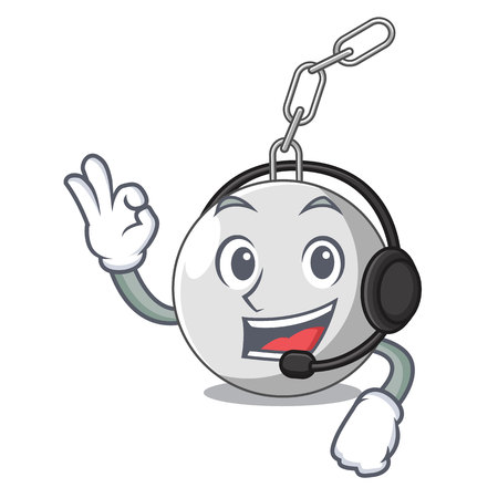 With headphone wrecking ball attached character on hitting vector illustration