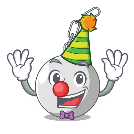 Clown wrecking ball attached character on hitting vector illustration