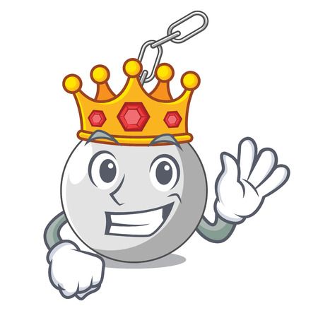 King wrecking ball attached character on hitting vector illustration