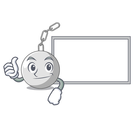 Thumbs up with board wrecking shattering ball on wall cartoon vector illustration Stock Illustratie