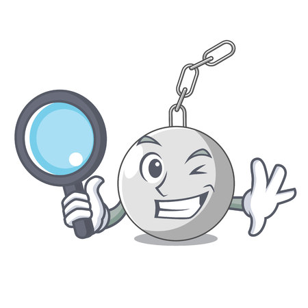 Detective wrecking ball hanging from chain cartoon