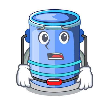 Afraid cylinder bucket with handle on cartoon vector illustration Ilustração